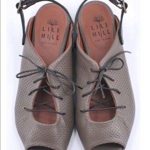 Lilimill Gray Peep Toe Leather Flat